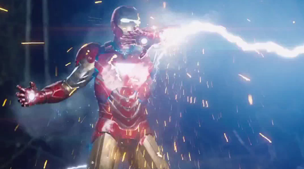 Avengers Assemble: Iron Man struck by Thor's lightning bolt