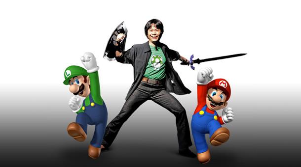 Shigeru Miyamoto with Mario Bros.