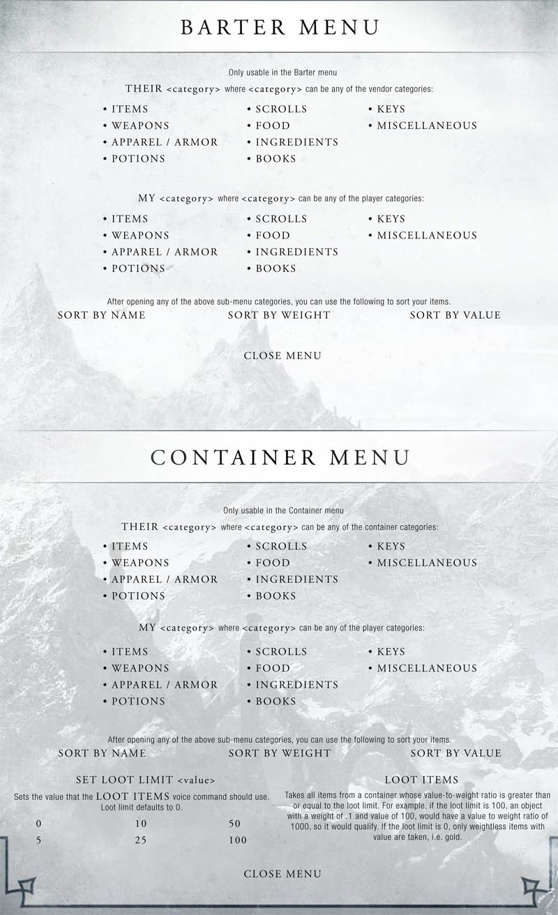Skyrim: Kinect Support - List Of Commands - Caribbean Game-Zone